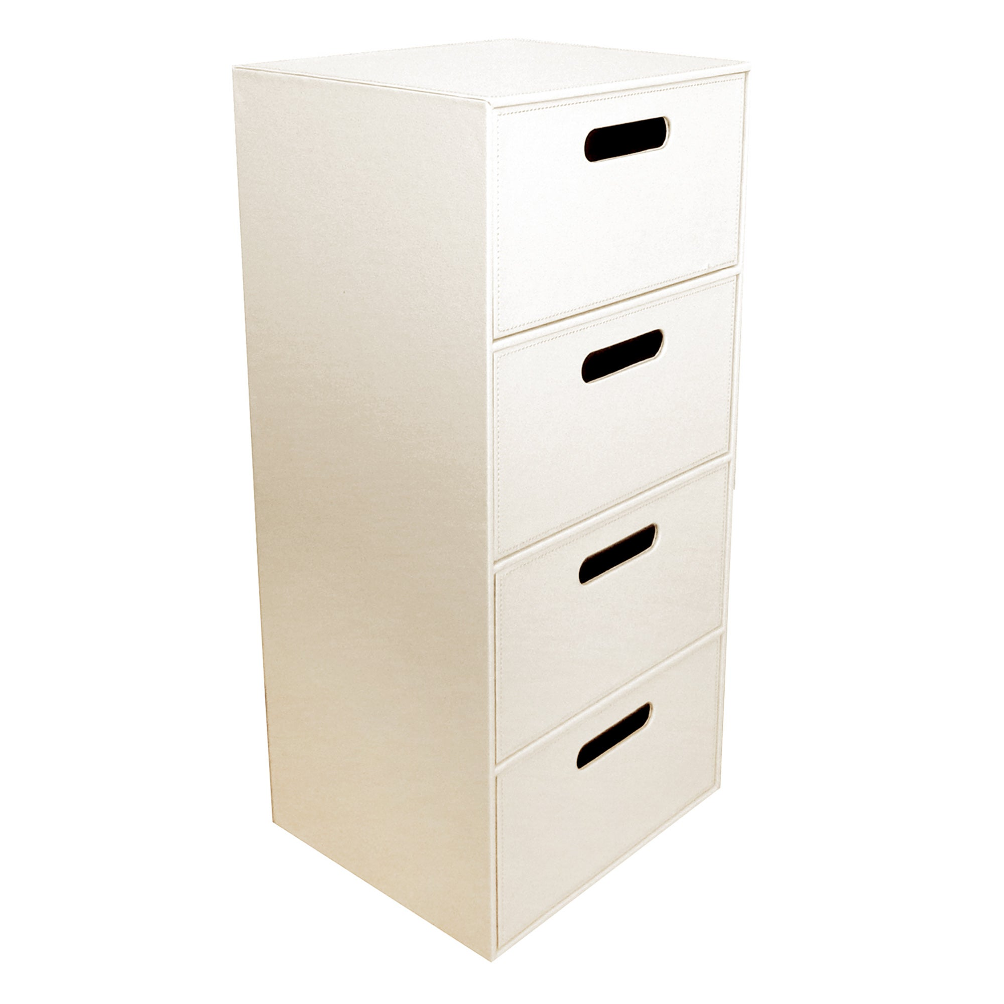 Cream Faux Leather 4 Drawer Unit