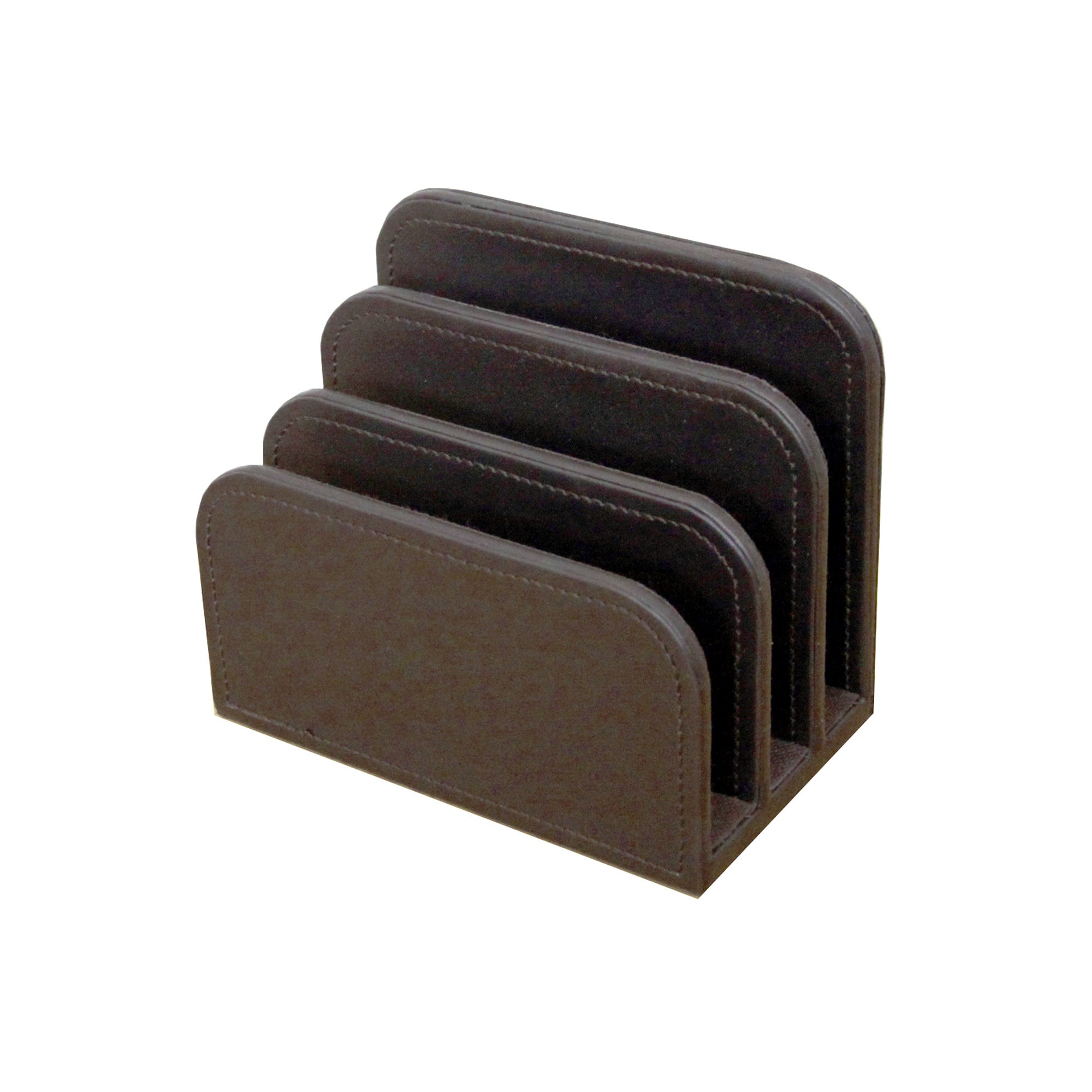 Brown Faux Leather Letter Sorter