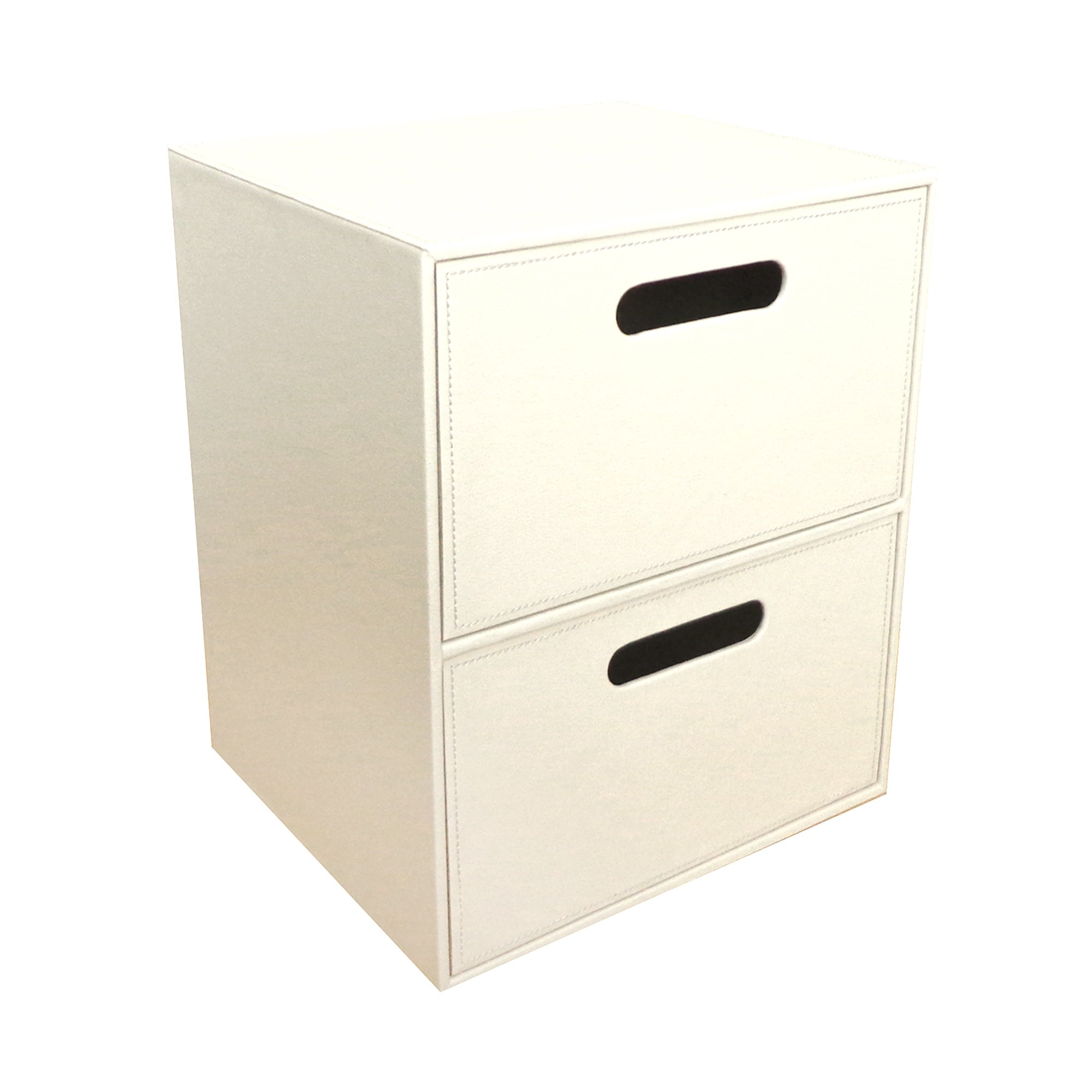 Cream Faux Leather 2 Drawer Unit