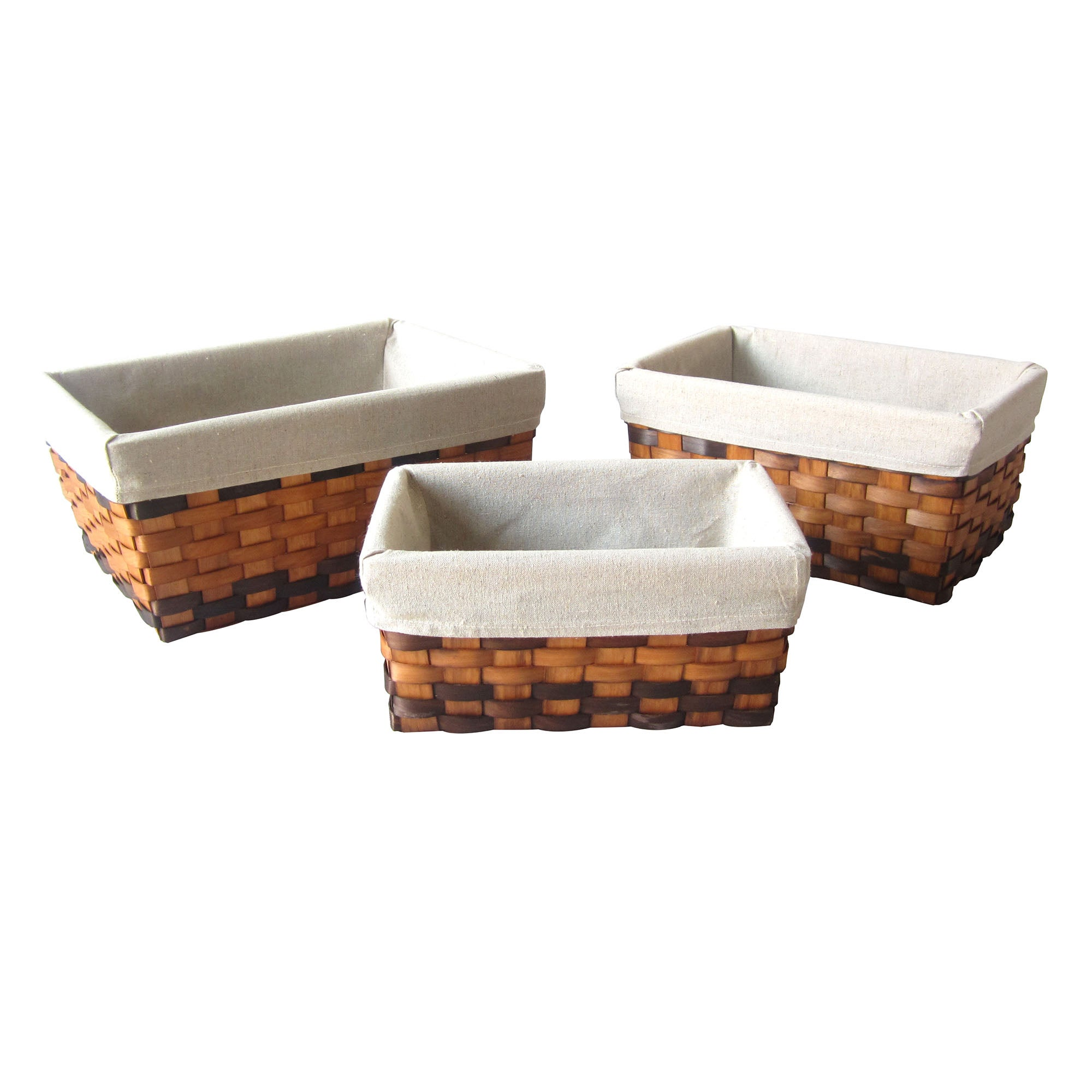 Honey Wood Set of 3 Baskets