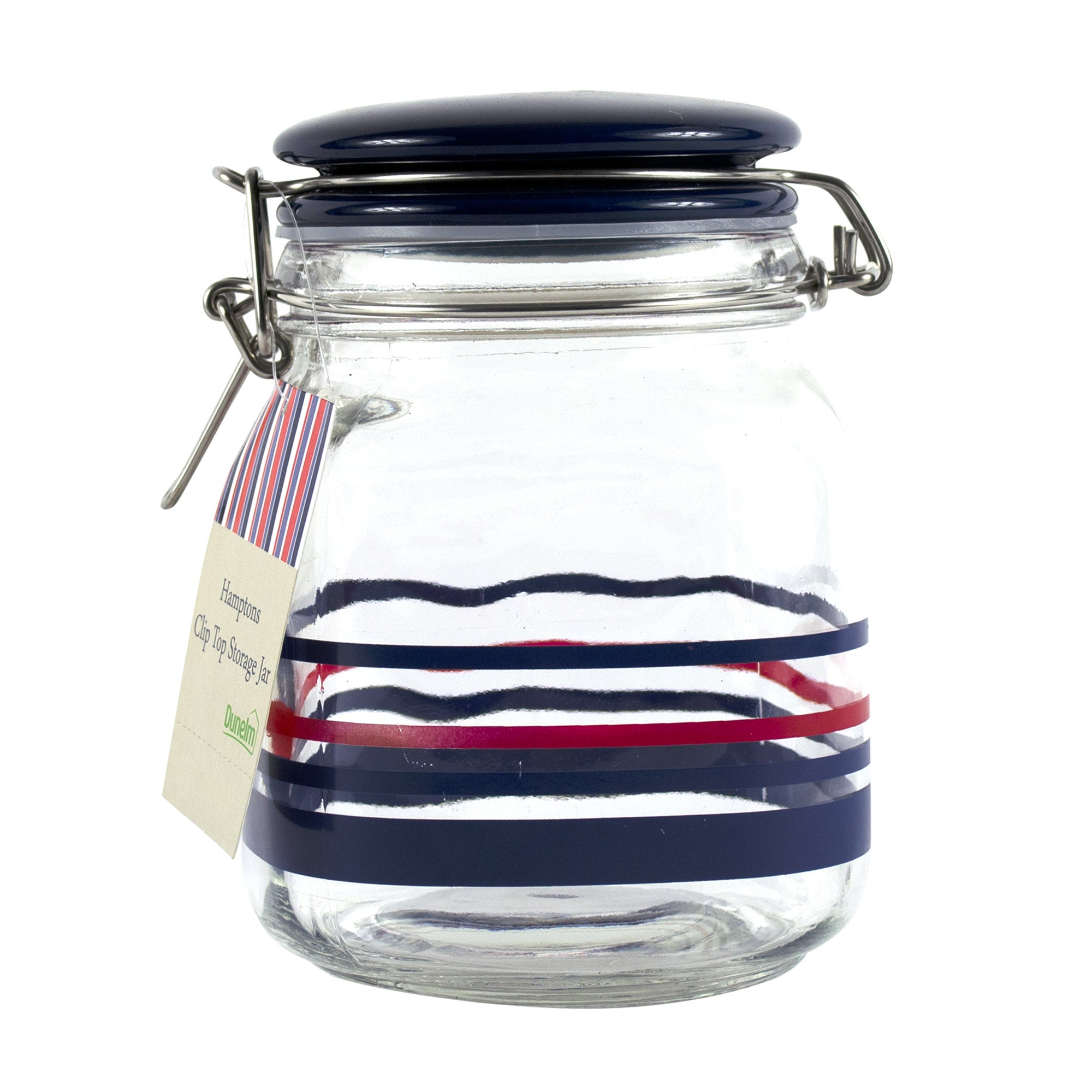 Hamptons Blue Stripe Clip Top Storage Jar