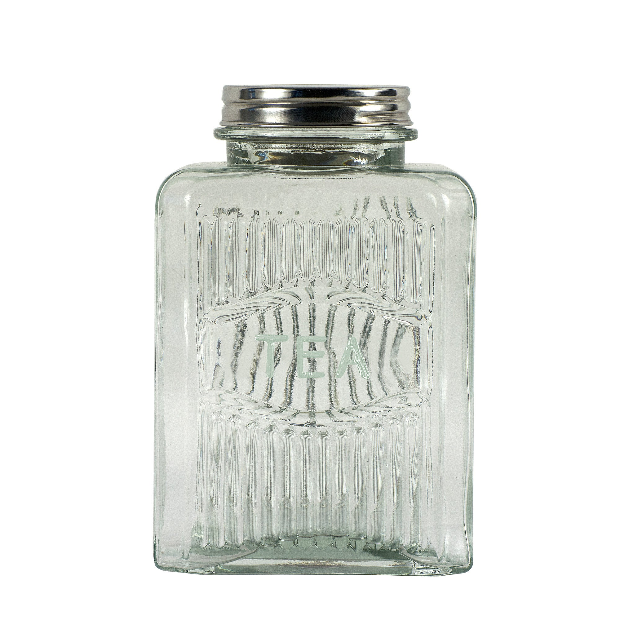 Embossed Glass Tea Canister