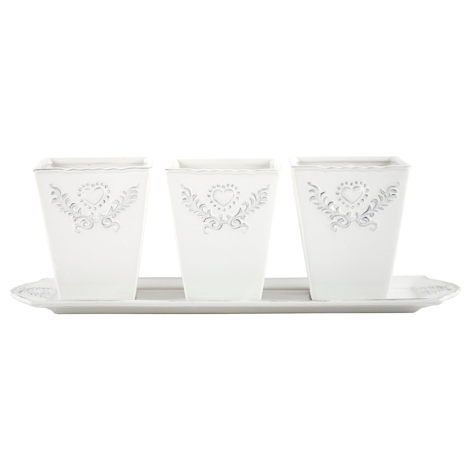 Maison Chic Set of 3 Herb Pots on Tray