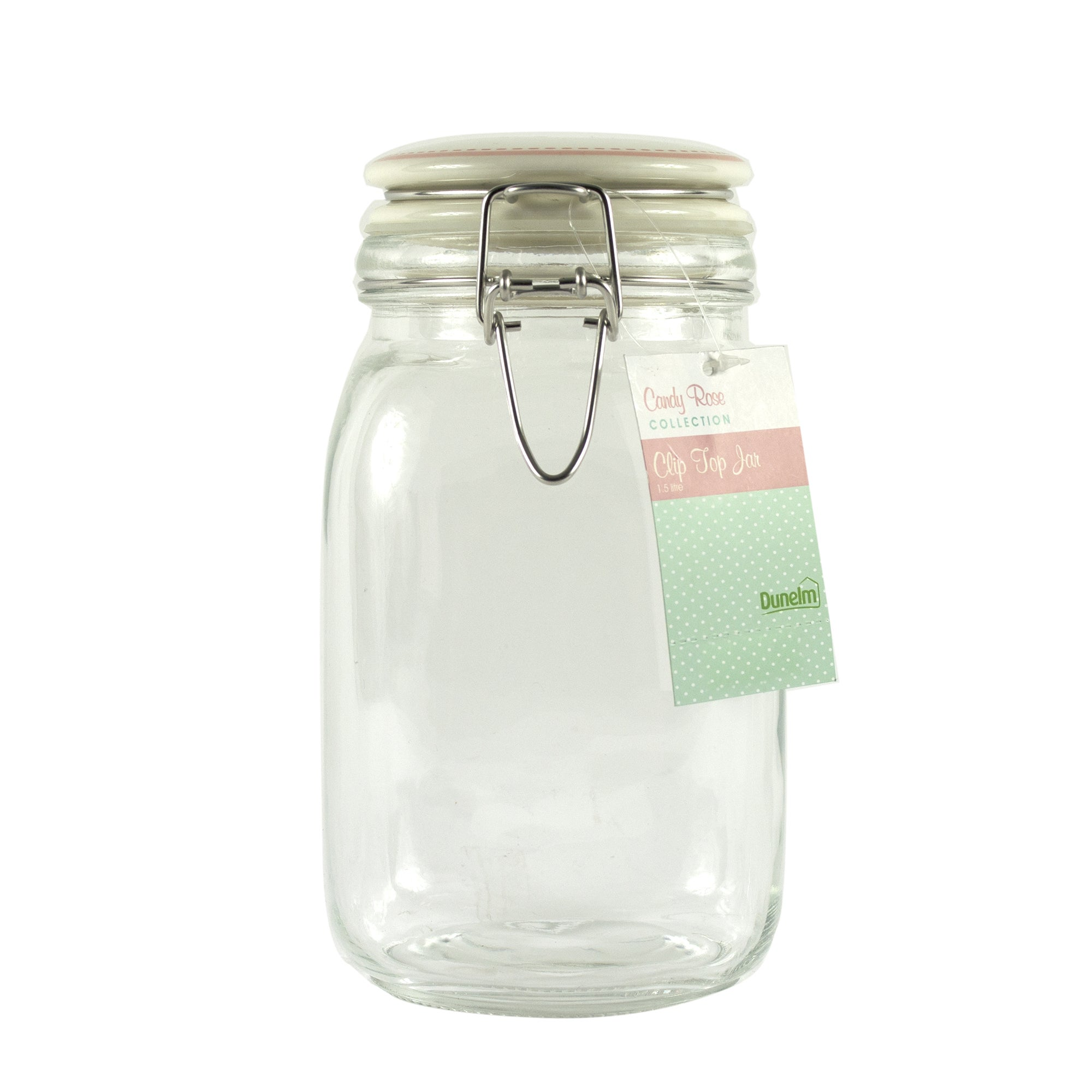 Candy Rose Collection Cream Clip Top 1.5 Litre Jar