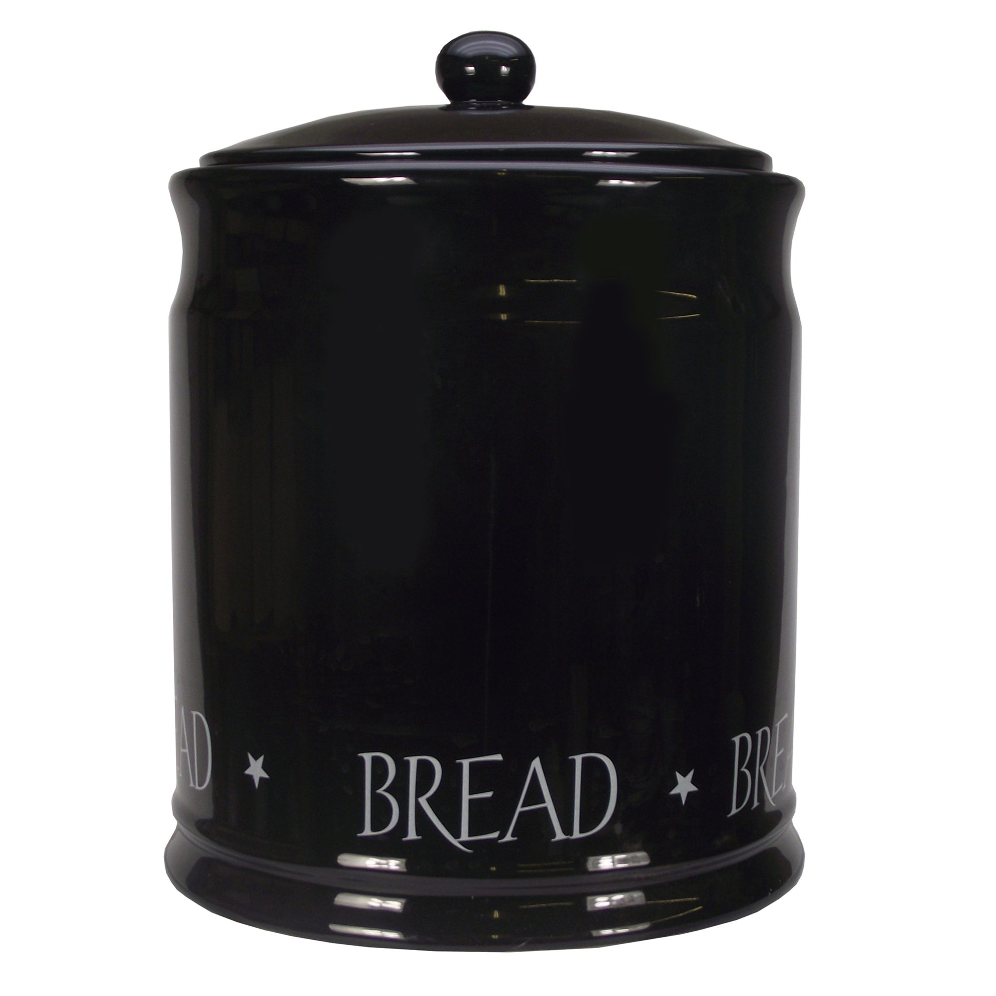 Black Vintage Text Collection Bread Bin