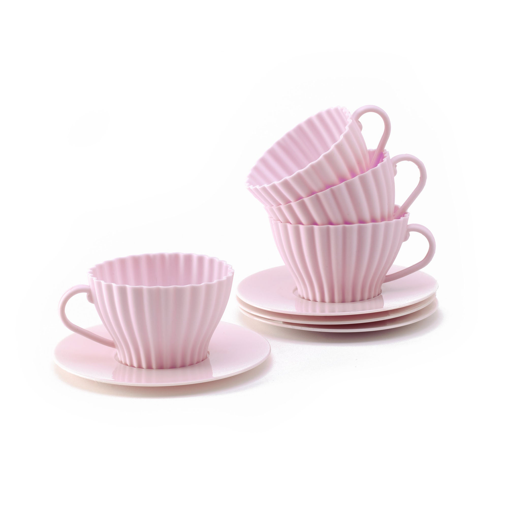 Set of Four Pink Silicone Teacup Cake Moulds