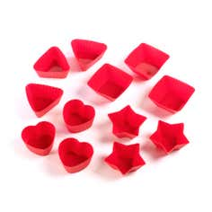Red Silicone Set of 12 Cupcake Cases