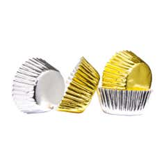 Pack of 100 Mini Silver and Gold Cupcake Cases