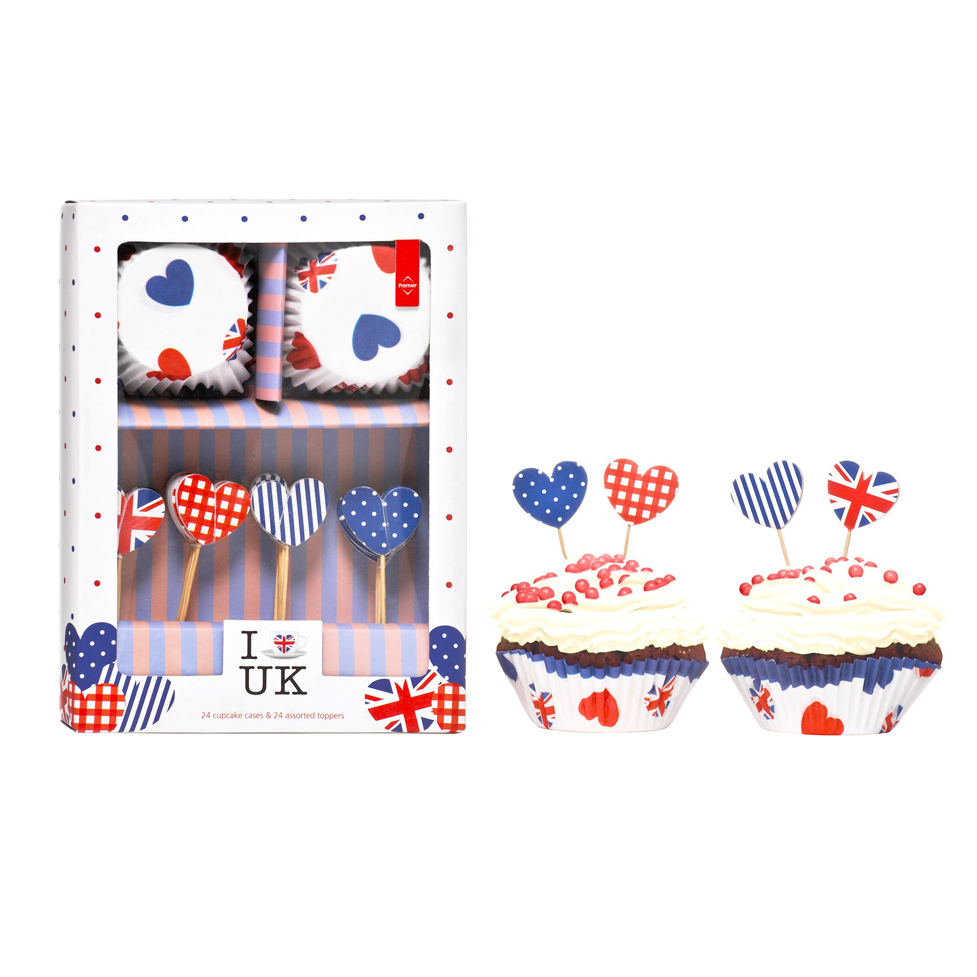 I Love UK Cupcake Cases and Topper Set