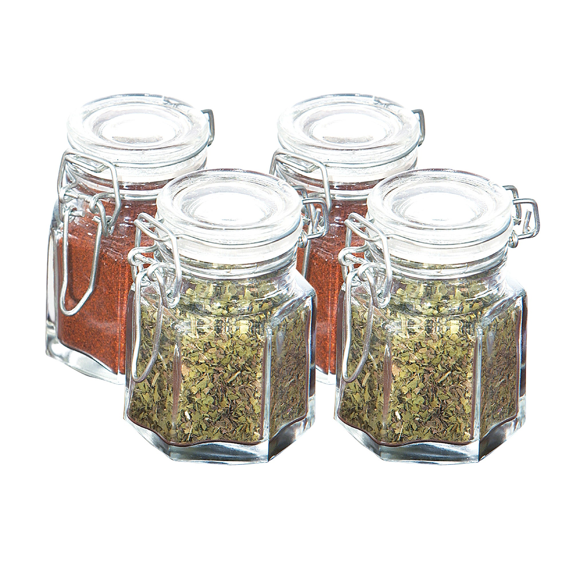 Set of Four Glass Clip Top Spice Jars