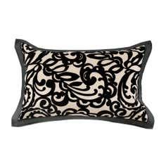 Black Baroque Flocked Oxford Pillowcase
