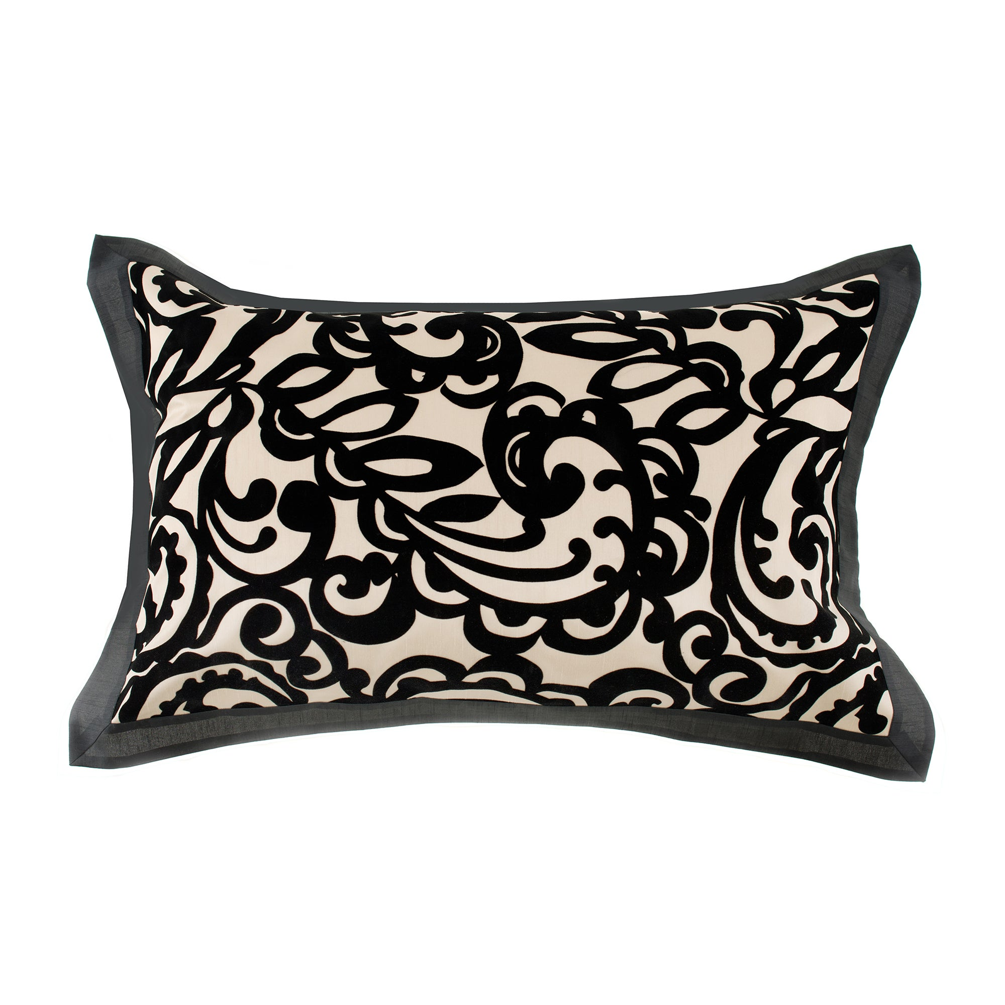 Black Baroque Flocked Oxford Pillowcase