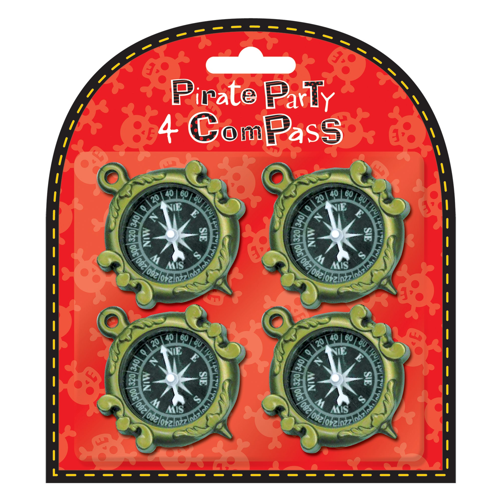 Pack of 4 Pirate Party Compasses