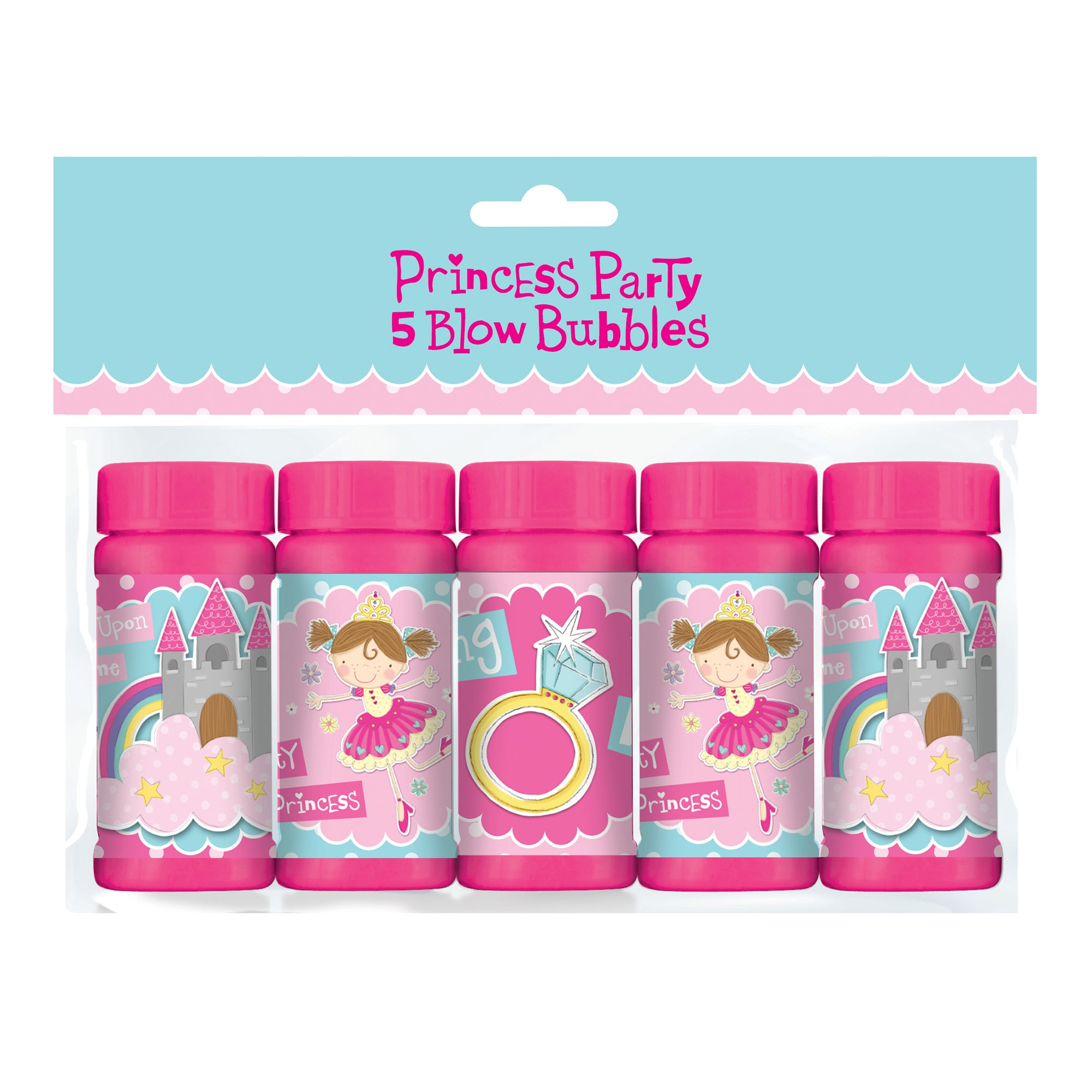 Princess Party Pack of 5 Bottles of Blow Bubbles