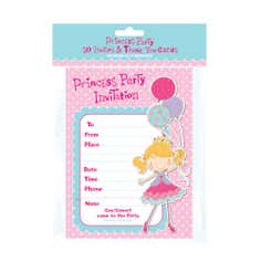 Princess Party Pack of Invites and Thank You Cards With Envelopes