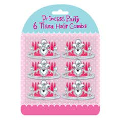 Princess Party Pack of 6 Tiara Hair Combs