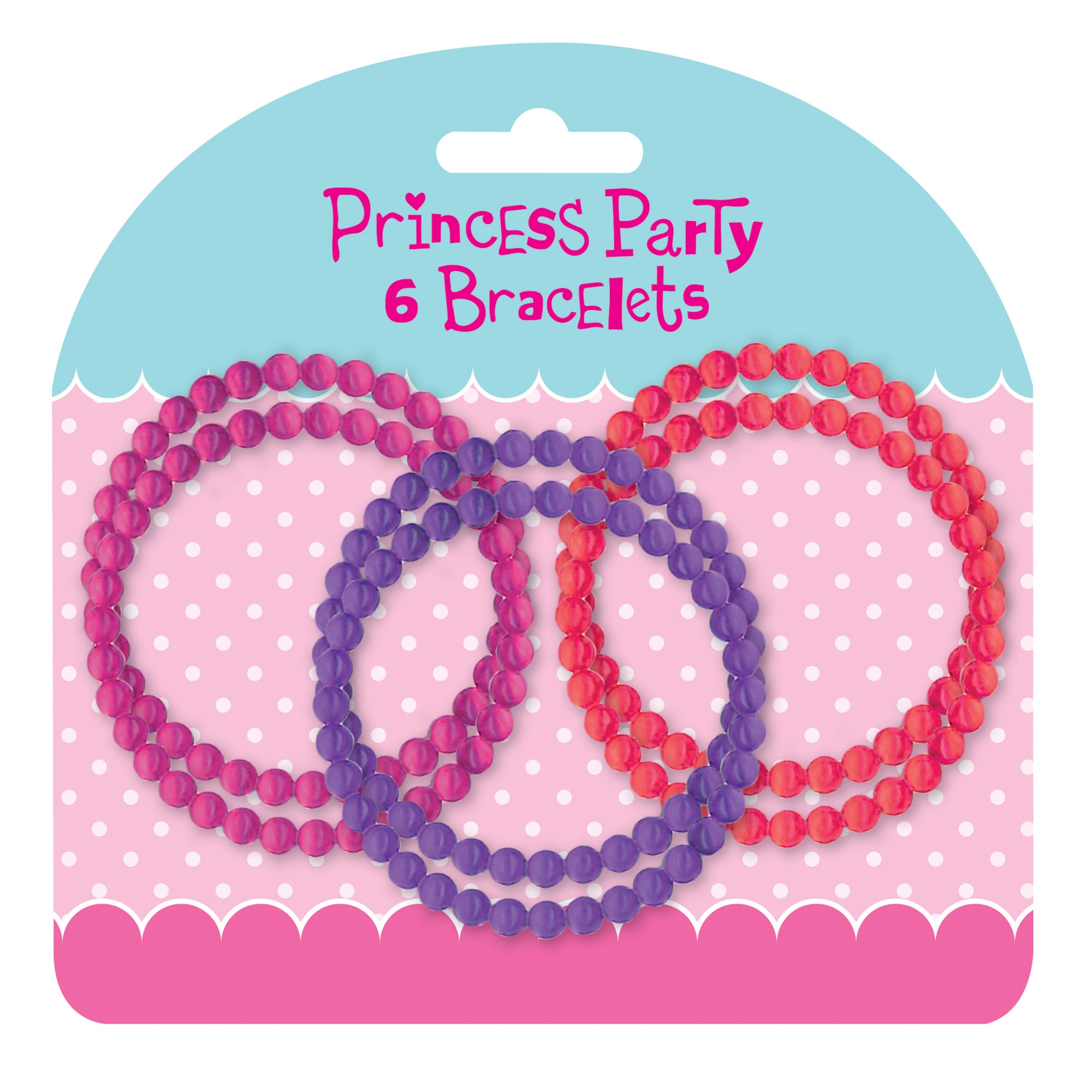 Princess Party Pack of 6 Plastic Bracelets