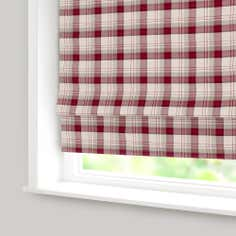 Red Balmoral Check Blackout Roman Blind
