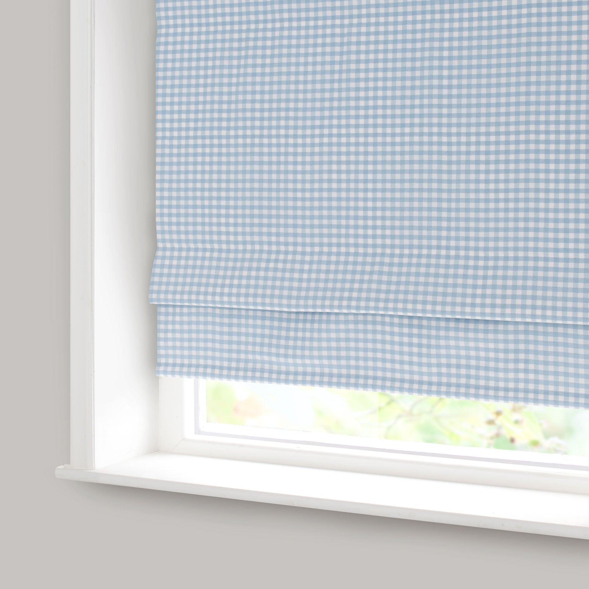 Gingham Blue Blackout Roman Blind