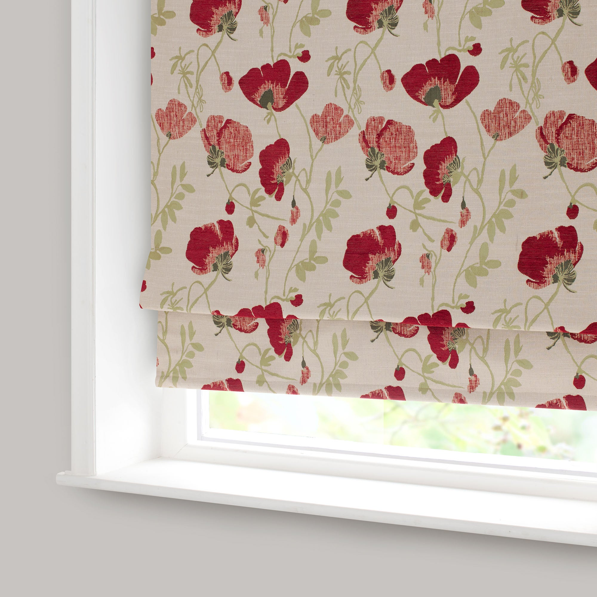 Red Poppy Chenille Blackout Roman Blind