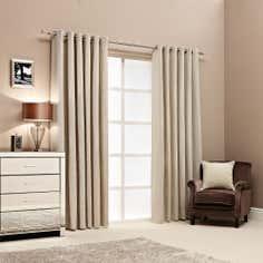 Hotel Natural Islington Lined Eyelet Curtains
