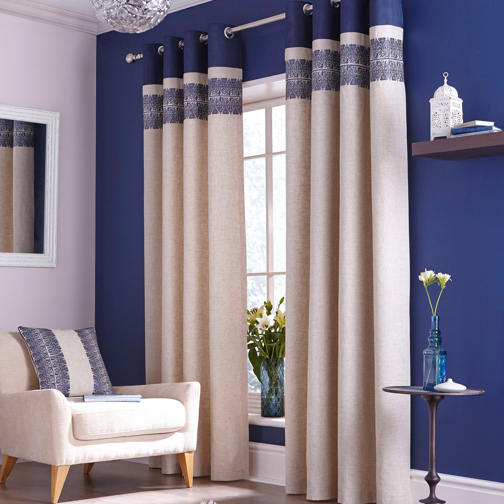 Blue Indigo Lined Eyelet Curtains