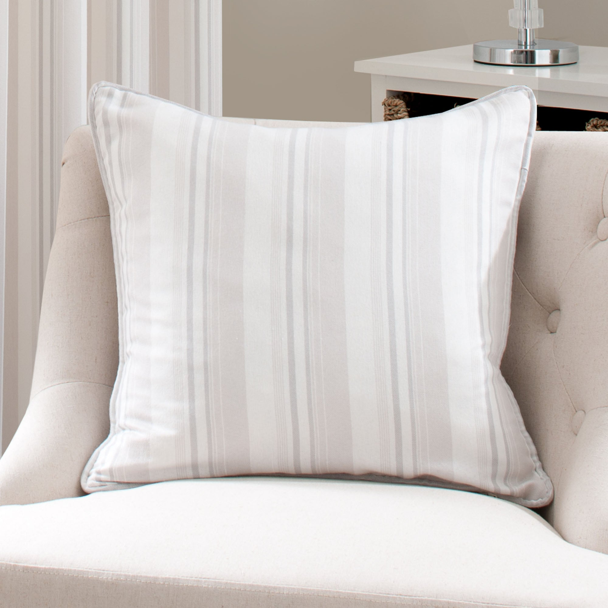 Cream Holkham Stripe Collection Cushion