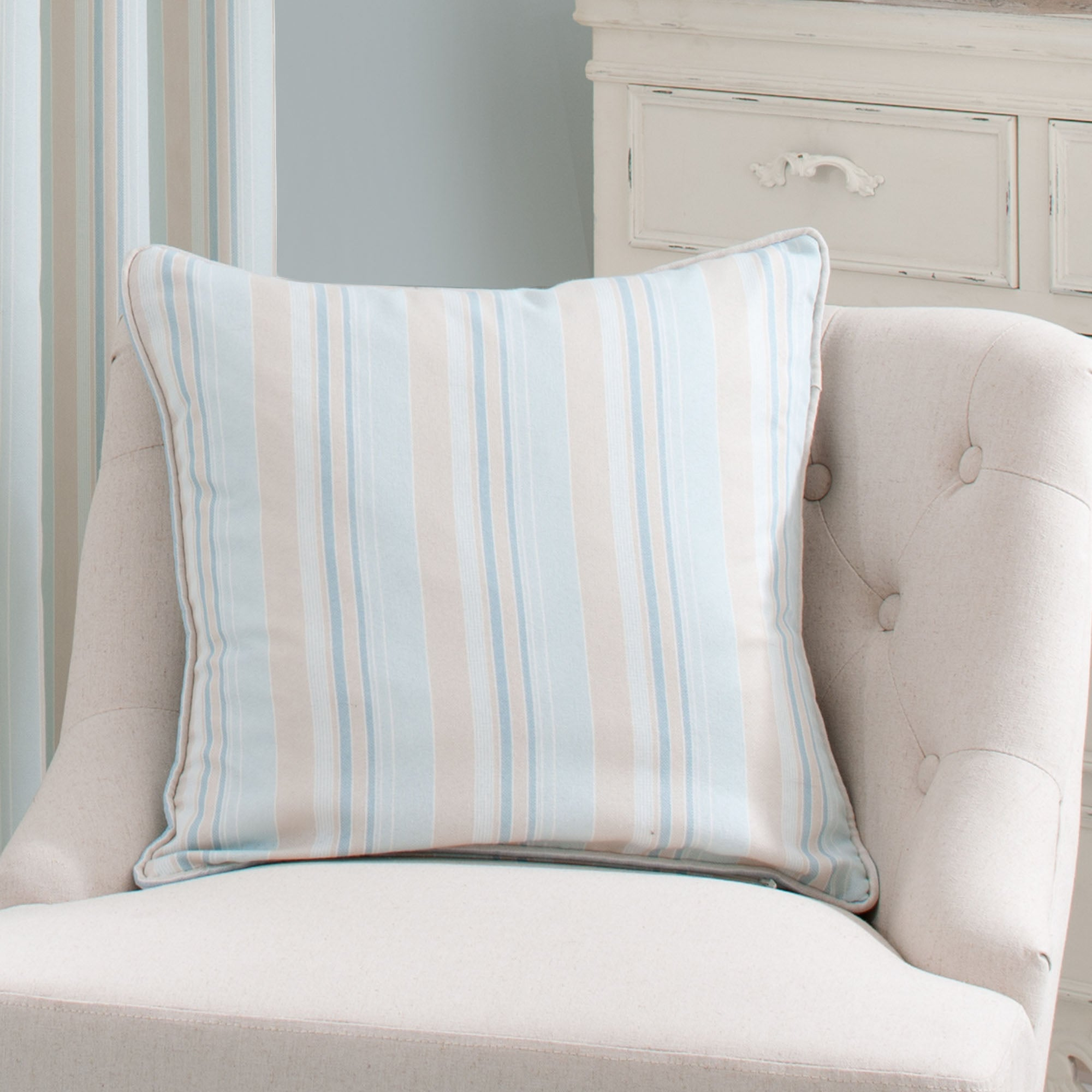 Duck Egg Holkham Stripe Collection Cushion