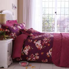 Plum Vintage Floral Collection Duvet Set