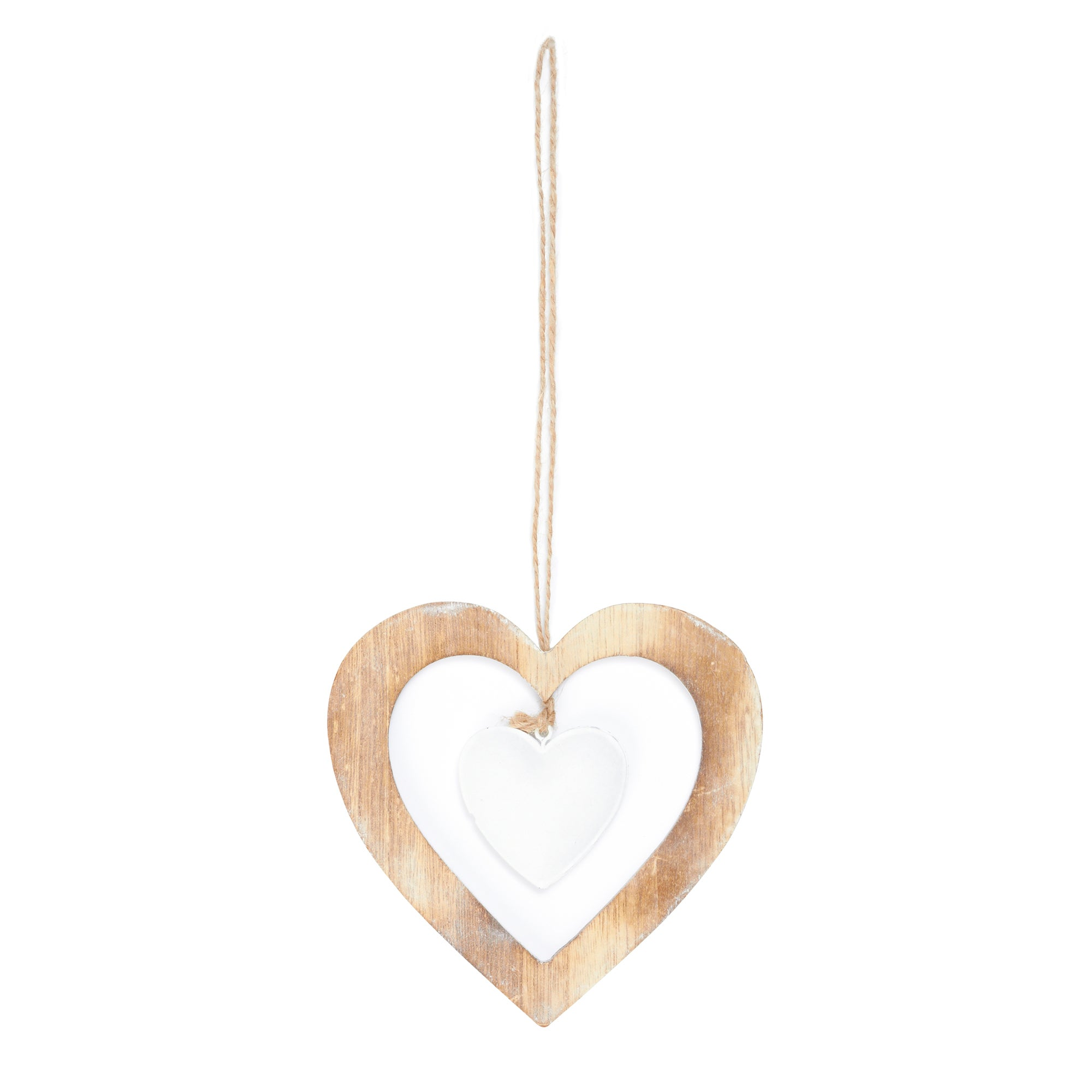Wooden Cut Out Hanging Hearts