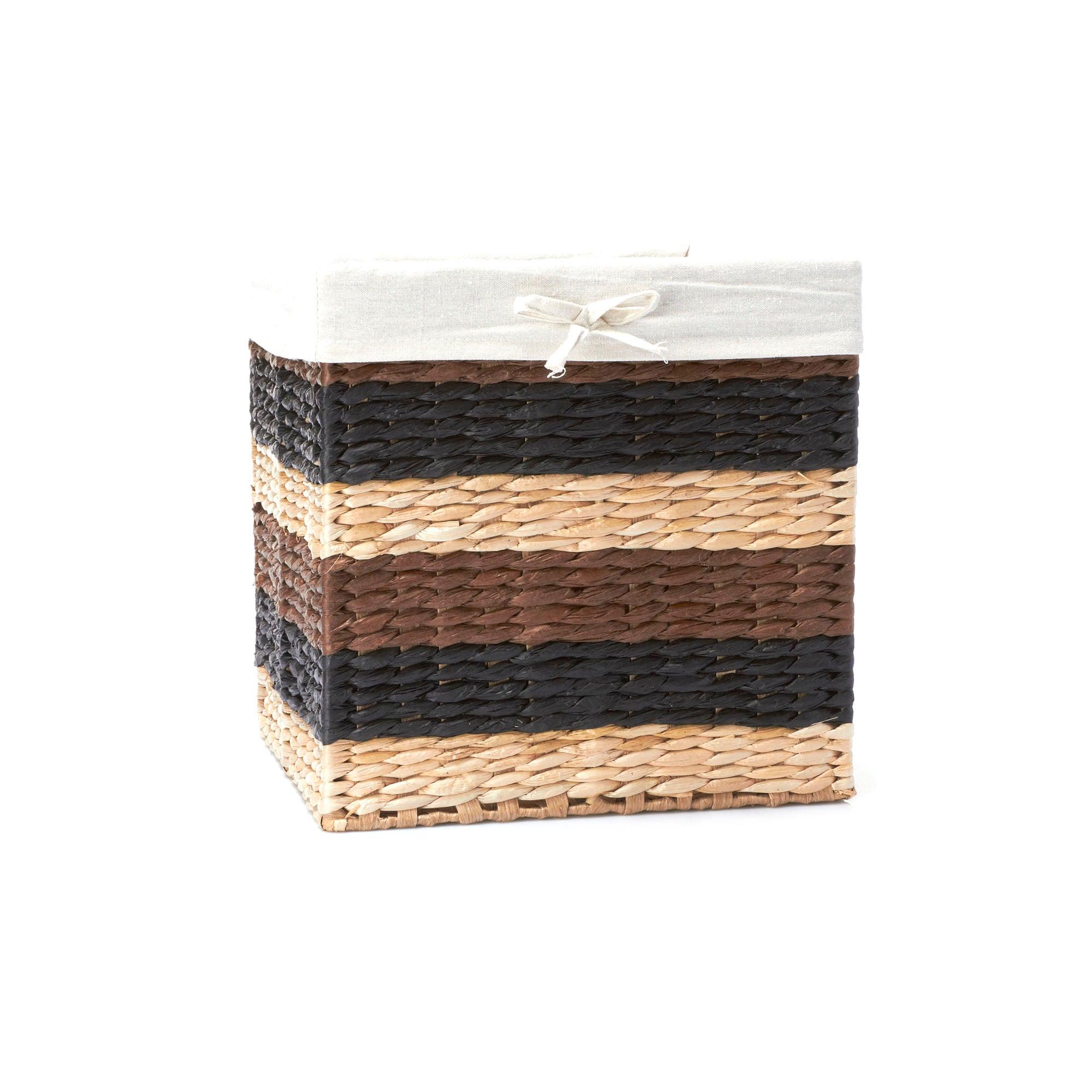 Stripe Square Wicker Basket
