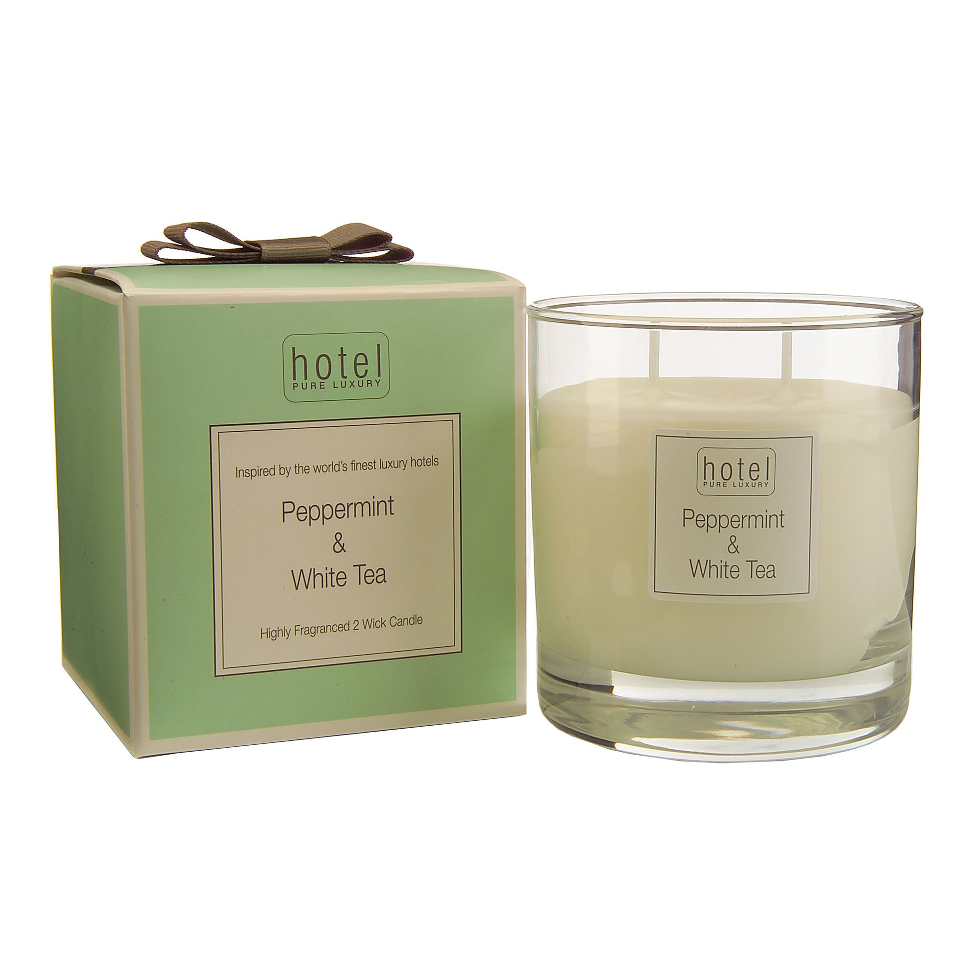 Hotel Peppermint and White Tea 2 Wick Glass Candle