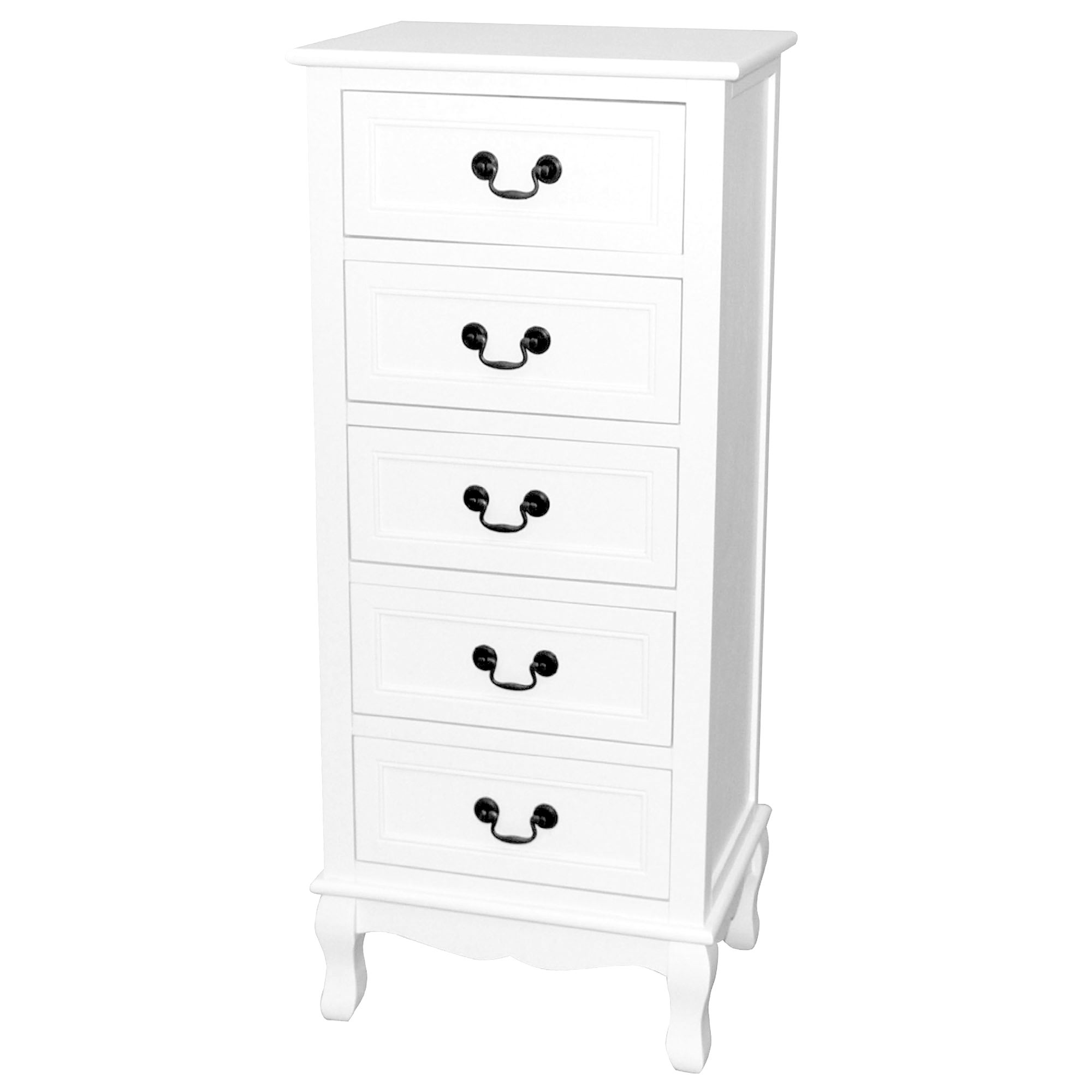 Bordeaux White 5 Drawer Tallboy