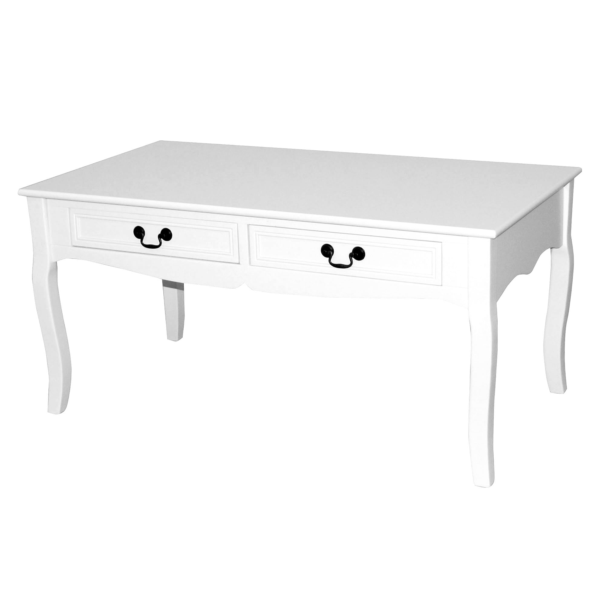 Bordeaux White Coffee Table with 2 Drawers
