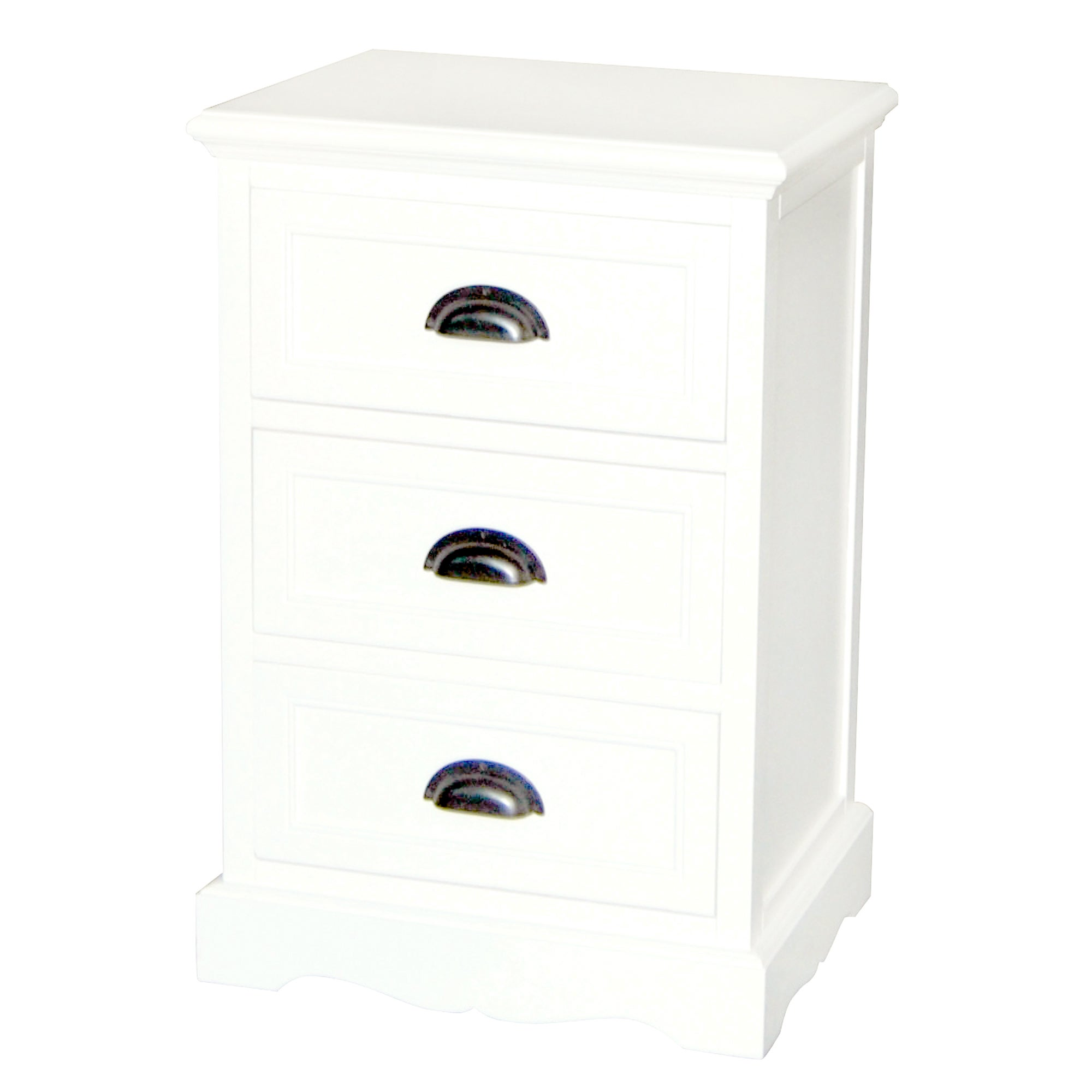 Georgia White 3 Drawer Bedside Table