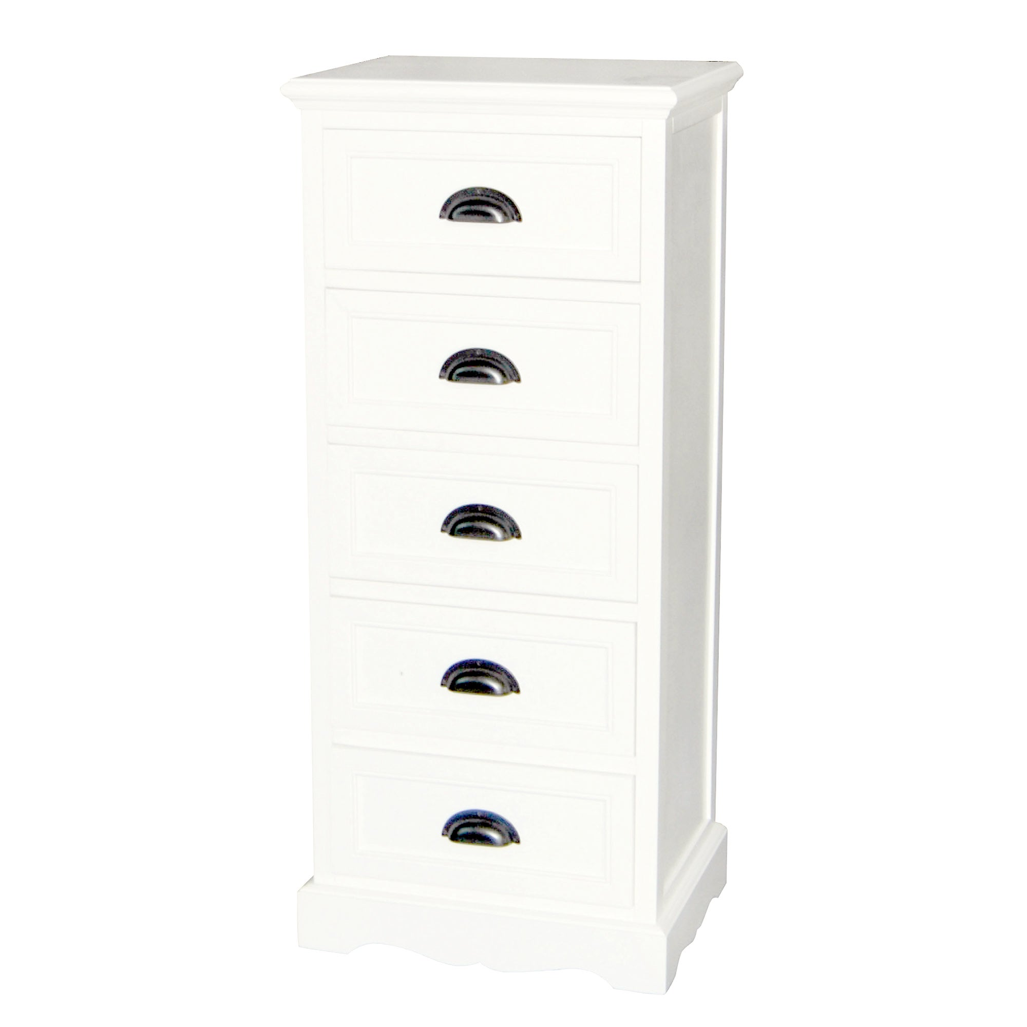Georgia White 5 Drawer Tallboy