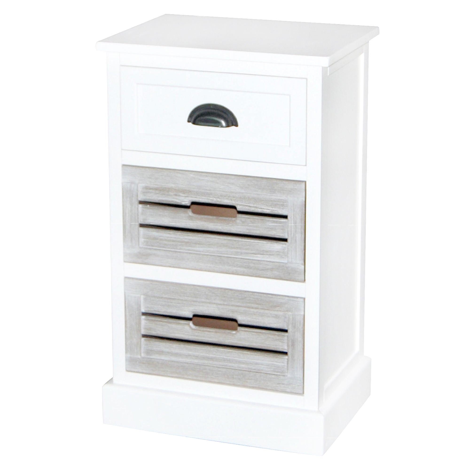 Atlanta White 3 Drawer Bedside Table