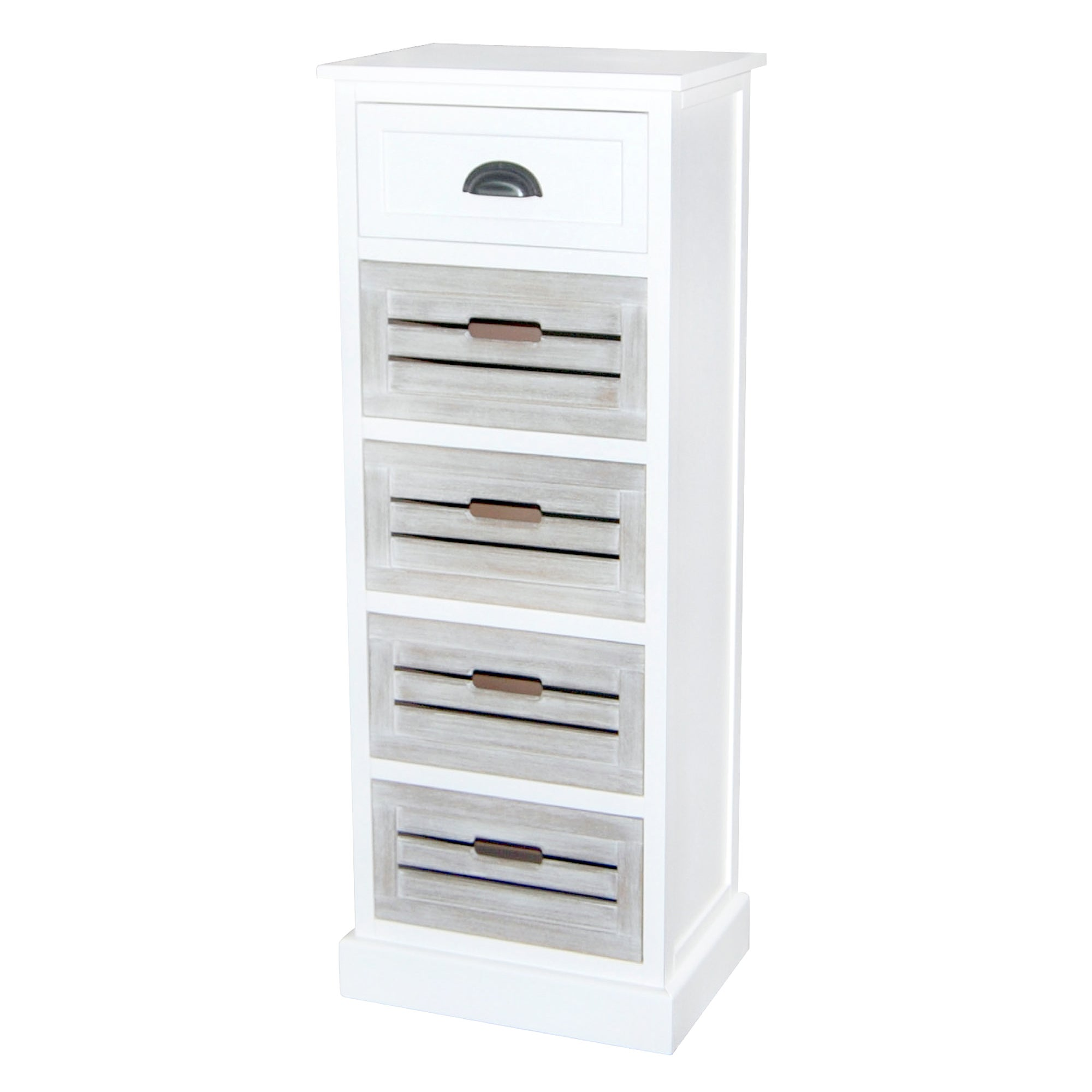 Atlanta White 5 Drawer Tallboy