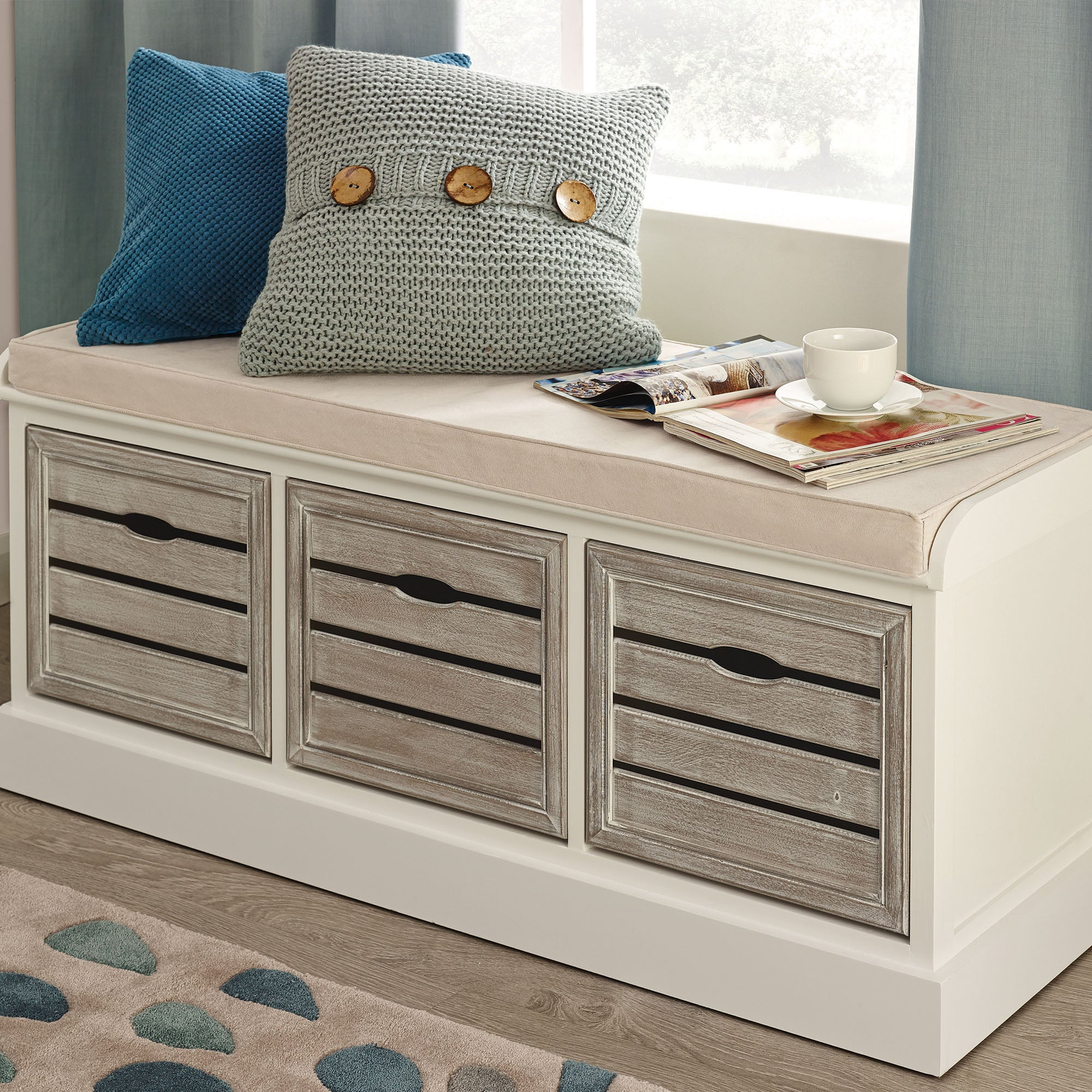 Atlanta White 3 Drawer Bench