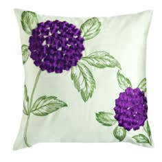 Plum Faux Silk Hydrangea Cushion