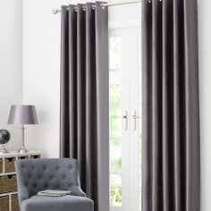 Pewter Dakota Lined Eyelet Curtains