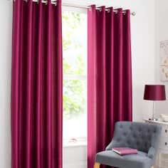 Raspberry Dakota Lined Eyelet Curtains