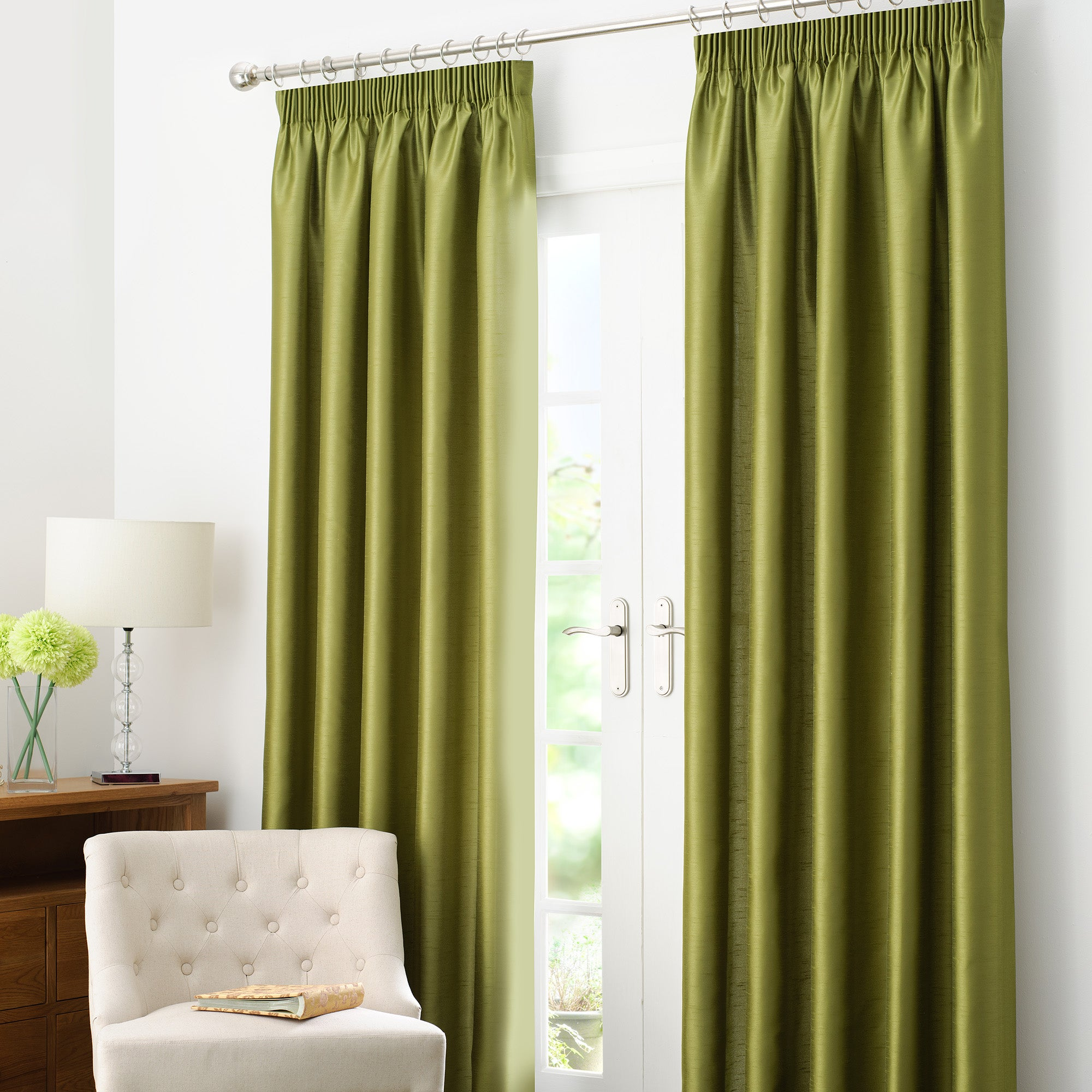 Green Dakota Lined Pencil Pleat Curtains