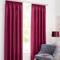 Raspberry Dakota Lined Pencil Pleat Curtains