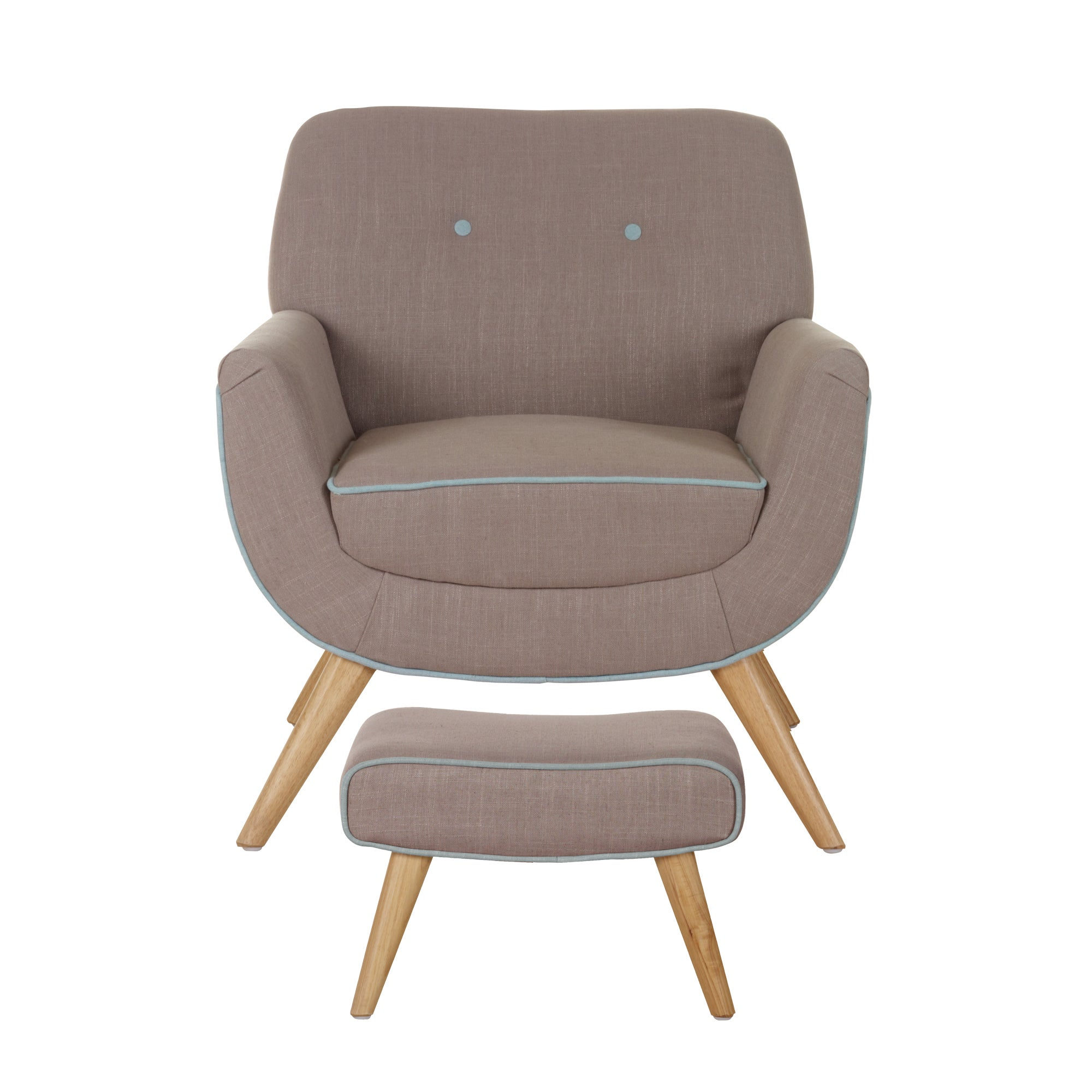 Skandi Mink Armchair and Footstool
