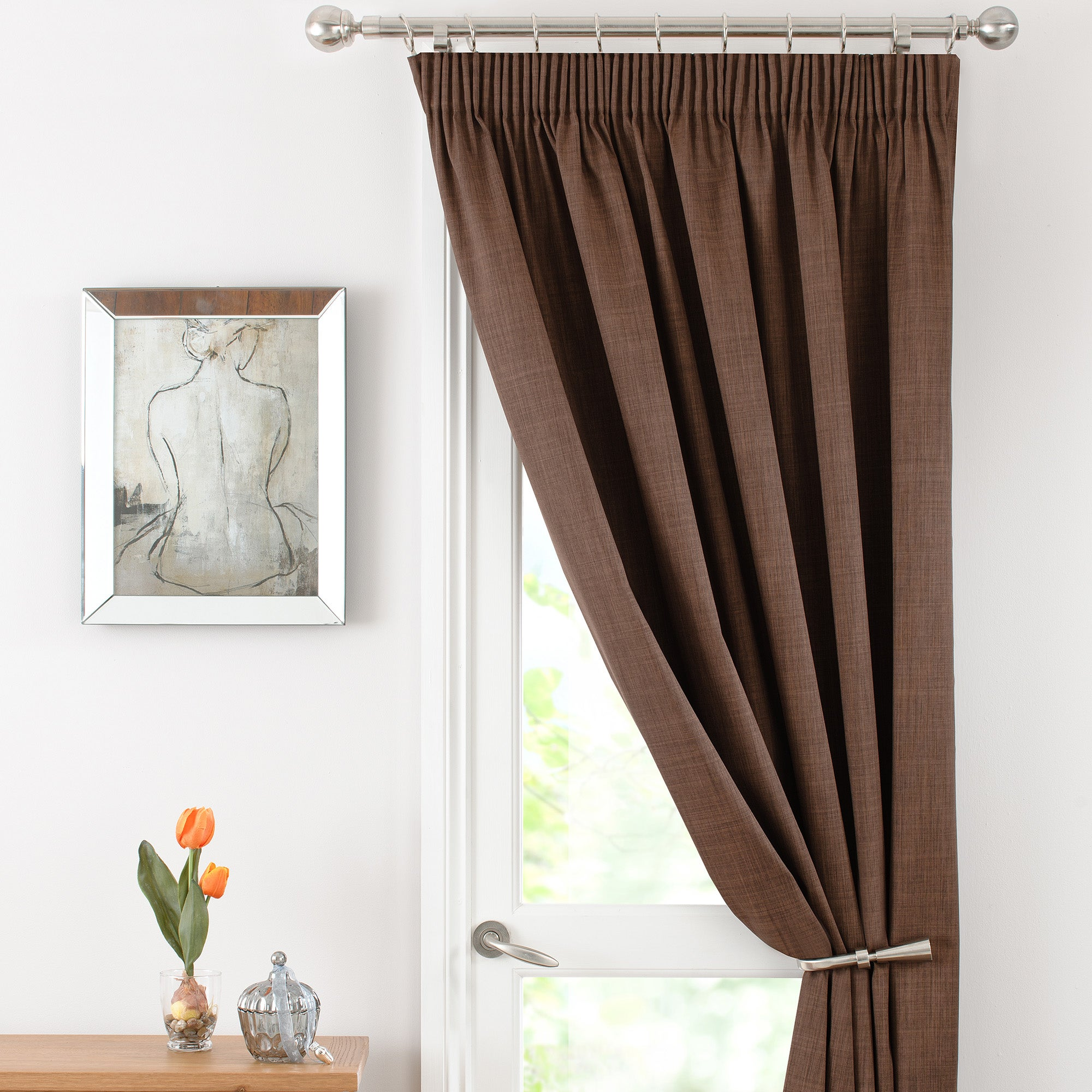Chocolate Solar Thermal Pencil Pleat Door Curtain