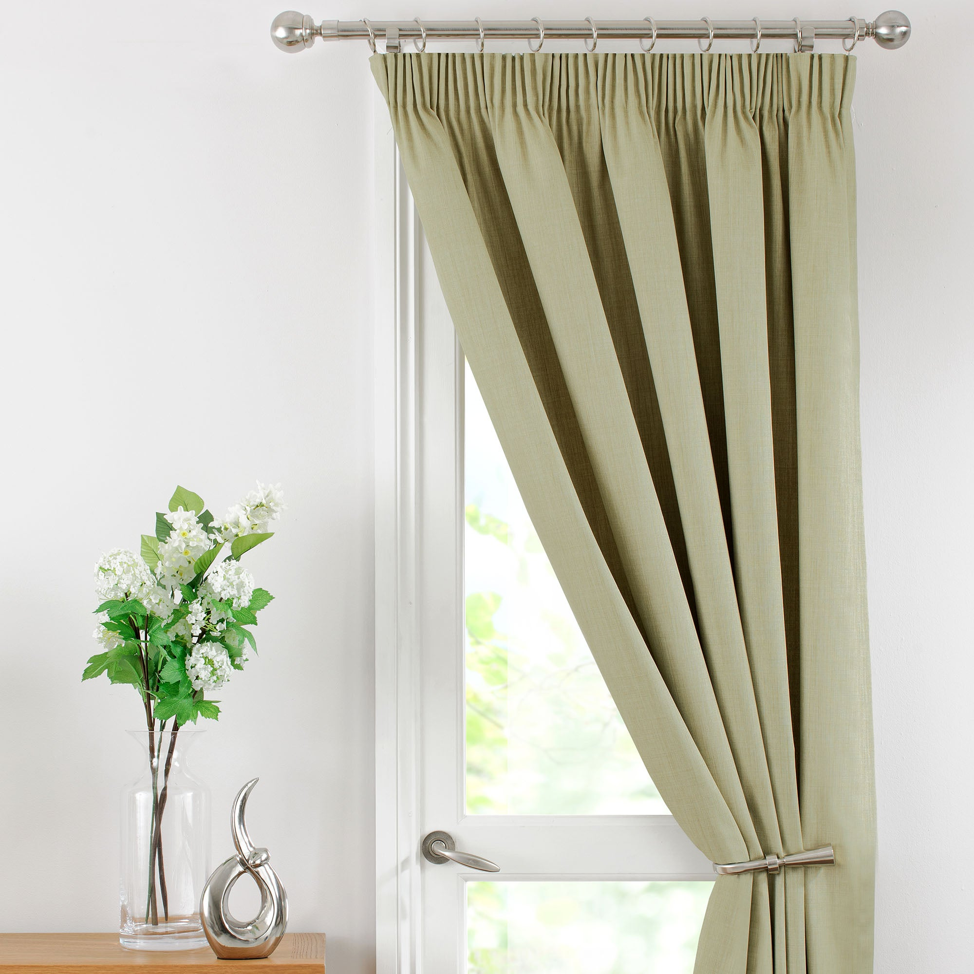 Green Thermal Pencil Pleat Solar Door Curtain