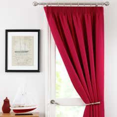 Red Solar Thermal Pencil Pleat Door Curtain