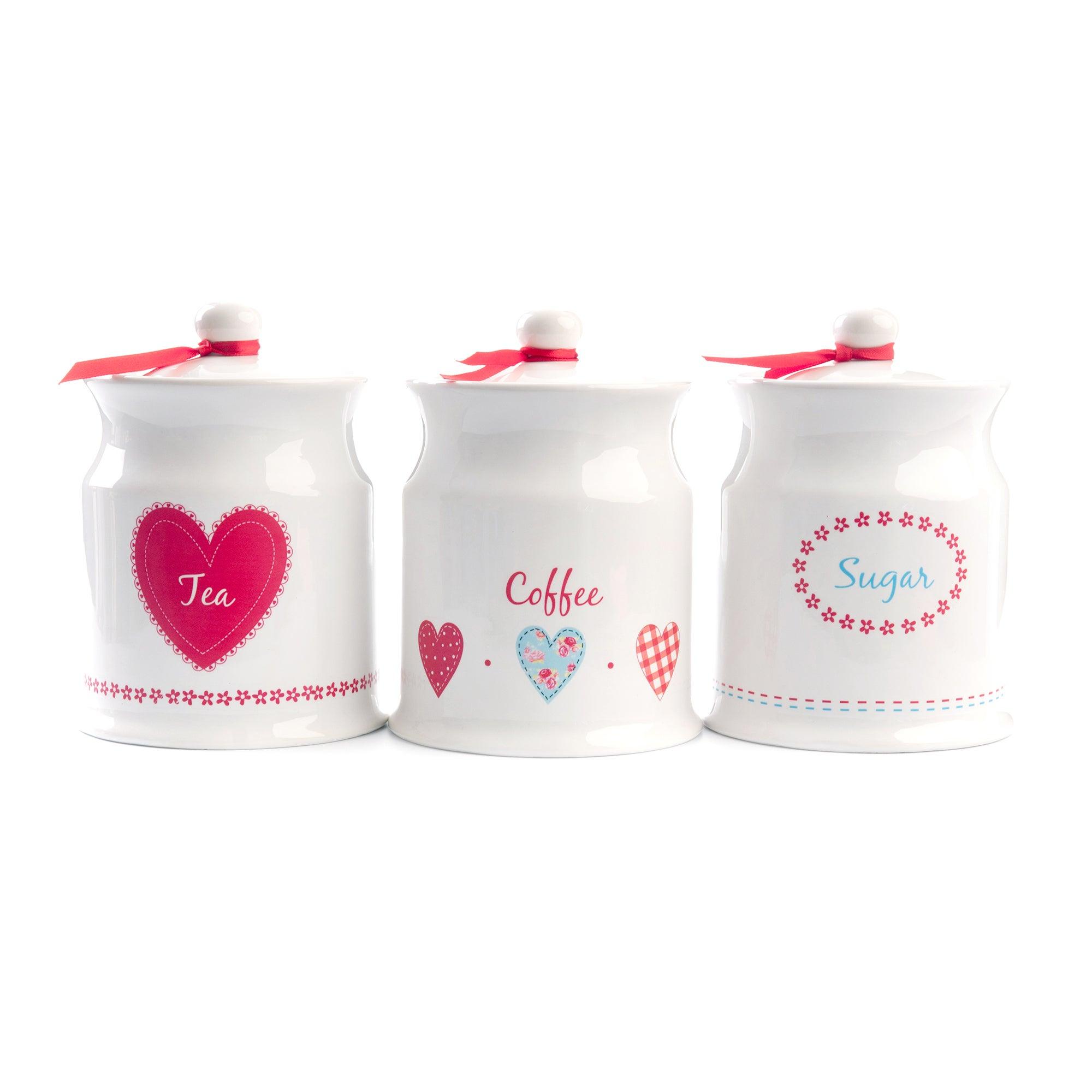 Ditsy Set of 3 Tea Coffee and Sugar Jars