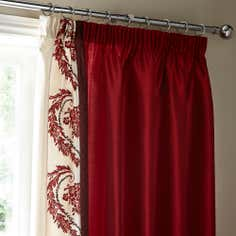 Red Beatrix Thermal Pencil Pleat Curtains